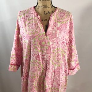 CHARTER CLUB-Pink/Grn. floral print Cotton robe/LG